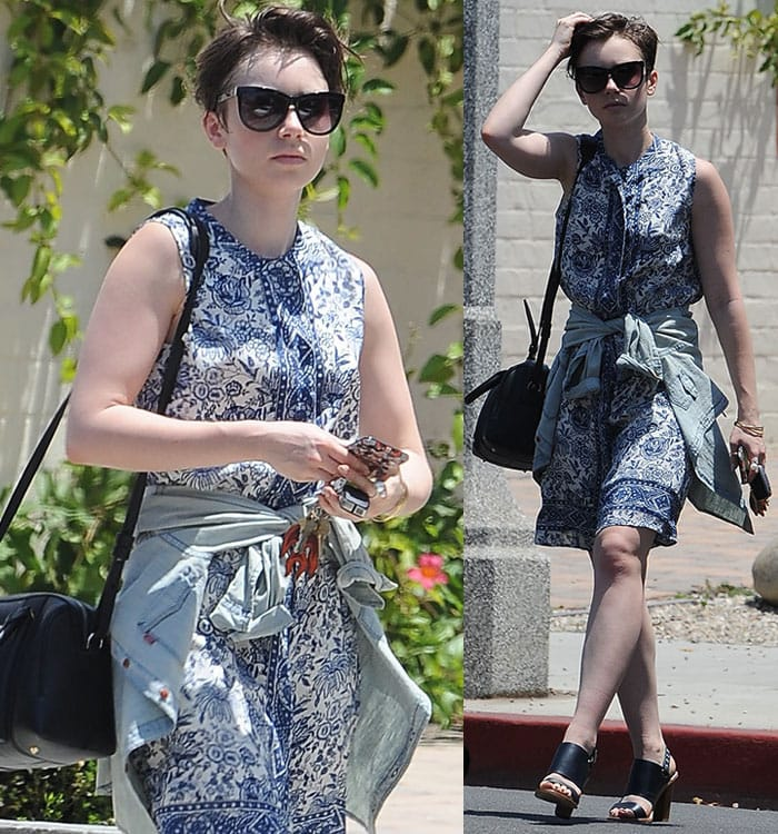 Lily Collins shielded her eyes behind oversized sunglasses