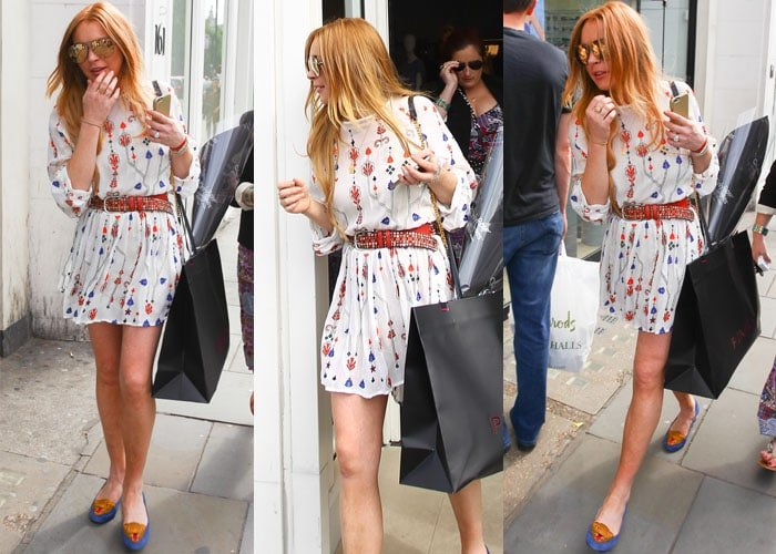 Lindsay Lohan stopped by Pinko in Knightsbridge with a few friends