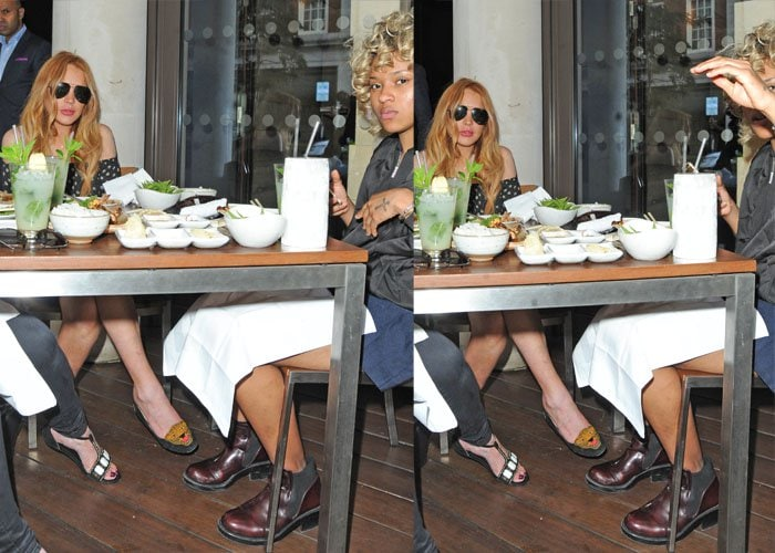 Lindsay Lohan dines at Roka Mayfair with friends