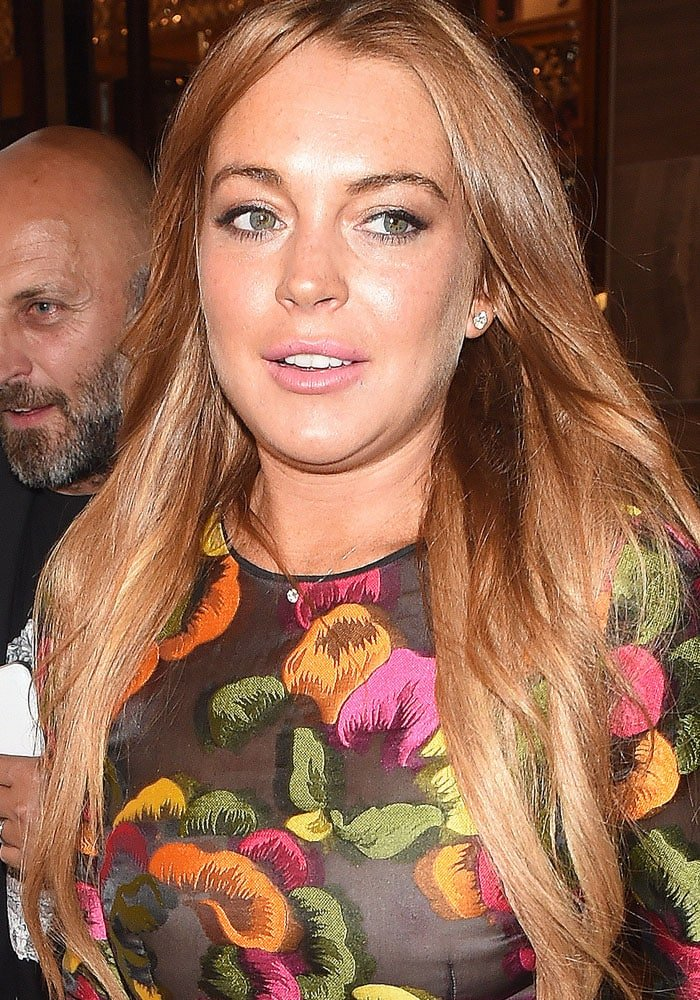 Lindsay Lohan with her lightened red hair
