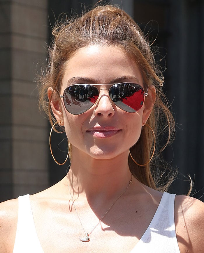 Maria Menounospulled her long locks back into a messy ponytail