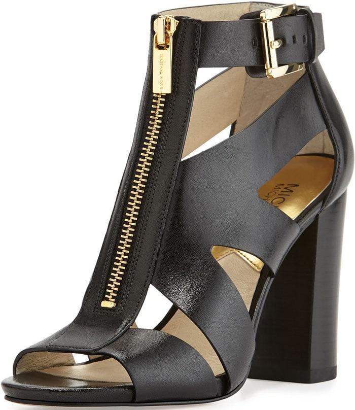 MICHAEL Michael Kors Anya Zip-Front Cutout Sandal in Black