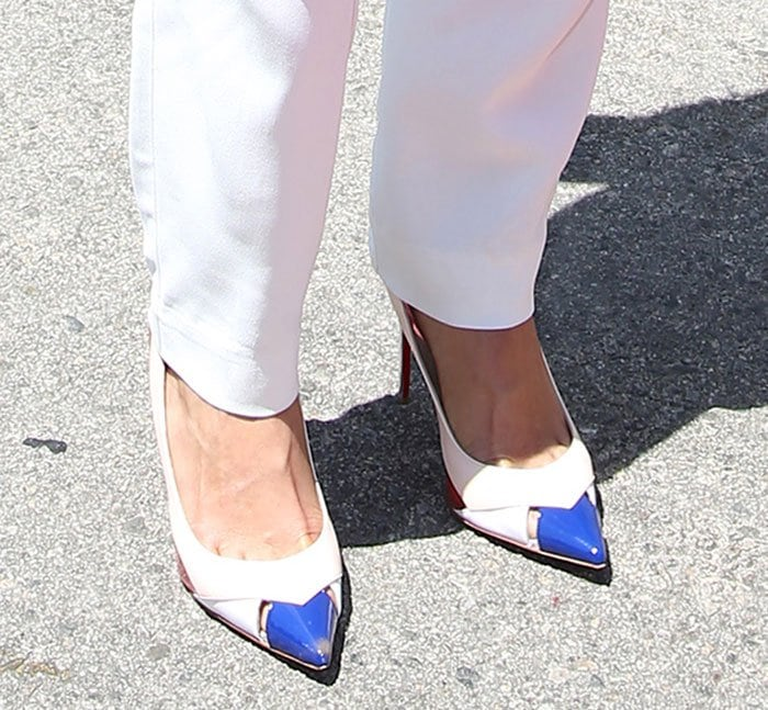 Michelle Rodriguez reveals toe cleavage in blush and white calfskin and kidskin leather shoes