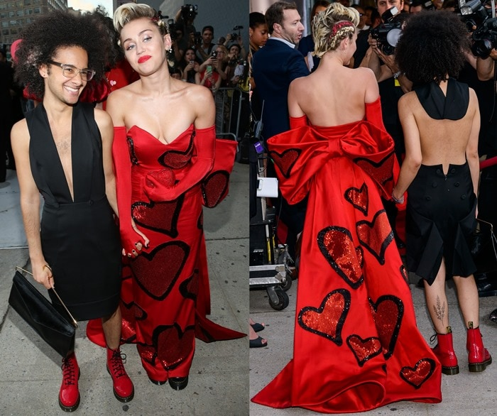 Miley Cyrus and her friend Tyler Ford attend the 2015 amfAR Inspiration Gala Fashion Show on June 16, 2015, in New York, New York