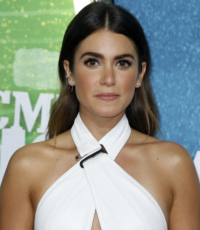 Nikki Reed's white Kaufmanfranco halter mini dress