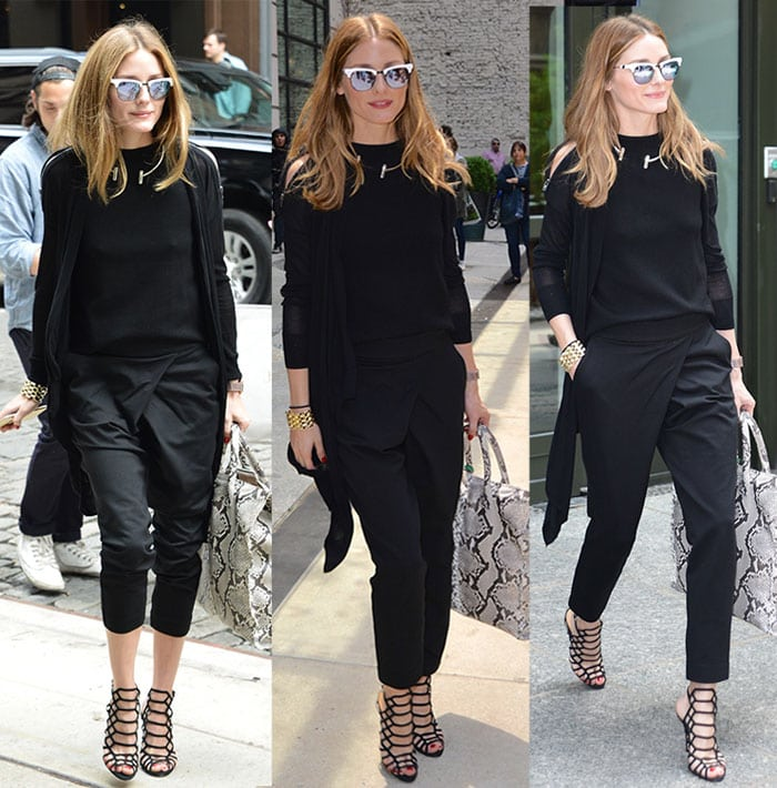 Olivia Palermo wearing unique origami-style cropped pants