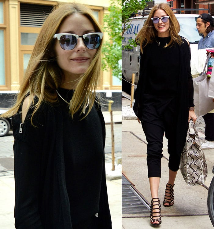 Olivia Palermo's hair was worn down and parted in the middle