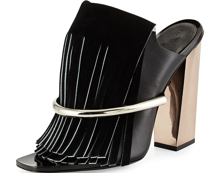 Proenza Schouler Leather Fringe Banded Mules