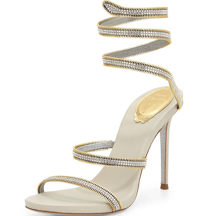 Rene Caovilla Crystal Snake-Coil Evening Sandals