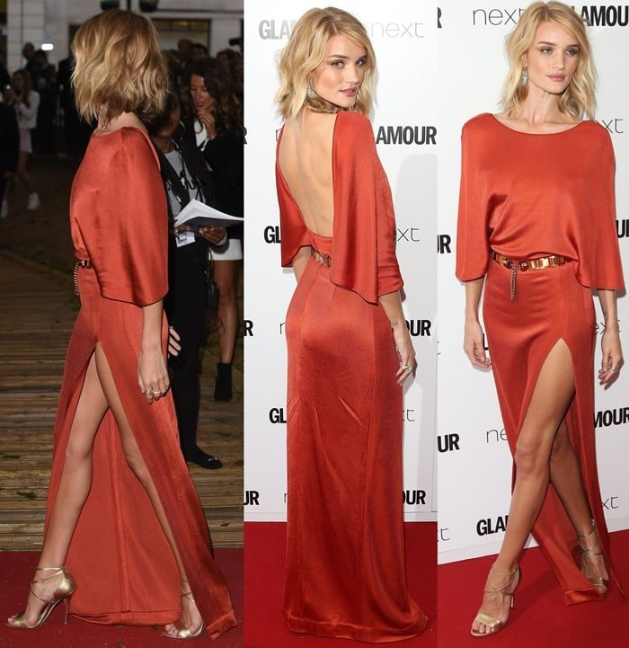 Rosie Huntington-Whiteley donned a hammered satin number from the Cushnie et Ochs Fall 2015 collection featuring a high slit and revealing back