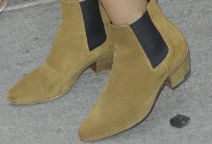 Selena Gomez wears Saint Laurent Chelsea ankle boots