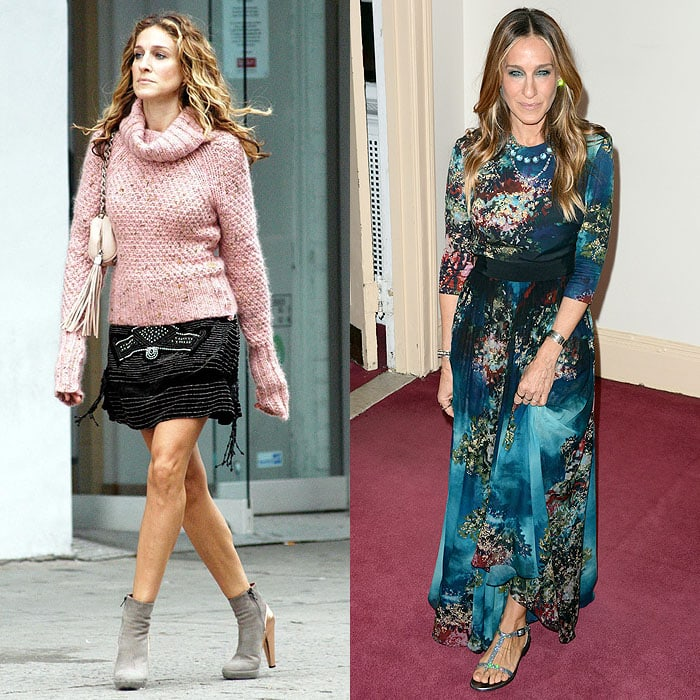 "Sarah Jessica Parker wearing high heels while filming ""Sex and the City"" in NYC's meatpacking district on November 6, 2003; SJP wearing glittery flats to the Irish Repertory Theatre's Annual Gala Production at The Town Hall in New York City on June 8, 2015"