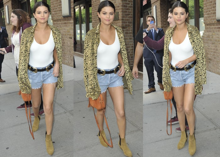 Selena Gomez paraded her sexy legs in denim cutoffs