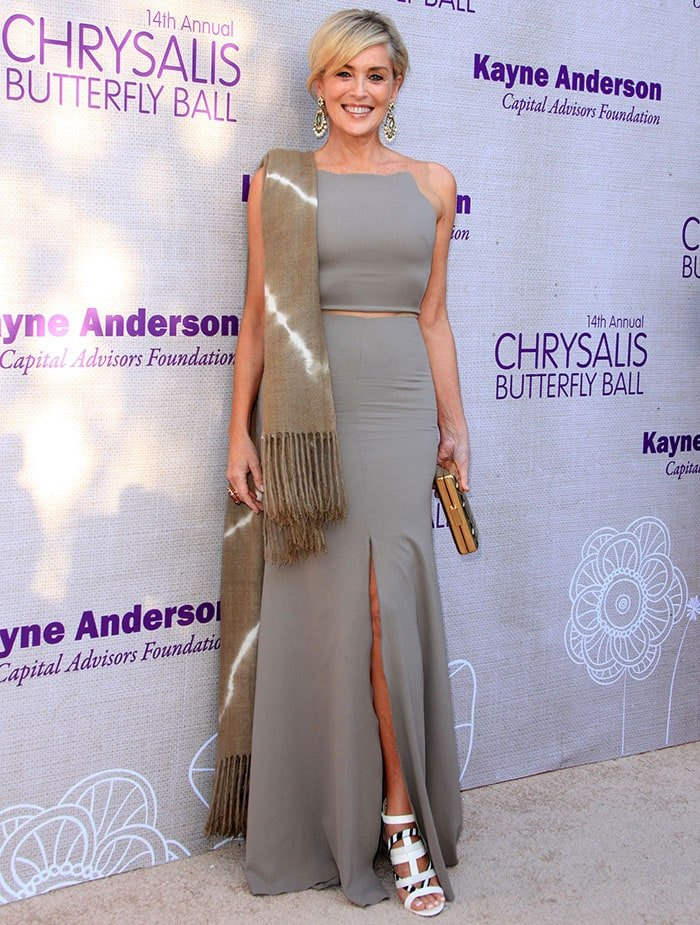 Sharon Stone wore a gray floor-length dress featuring sheer straps