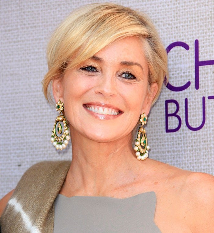 Sharon Stone's pixie haircut with side-swept bangs at the 14th Annual Chrysalis Butterfly Ball