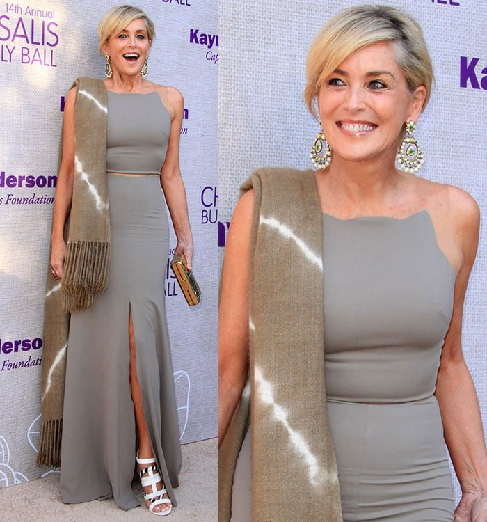 Sharon Stone with a tan pashmina shawl slung over her right shoulder