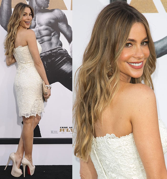 Sofia Vergara let her gold-streaked hair flow around her shoulders in soft waves