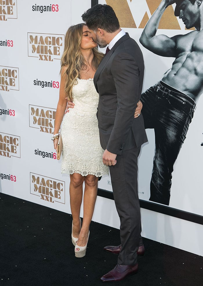 "Sofia Vergara and Joe Manganiello sharing a kiss at the premiere of Warner Bros. Pictures' ""Magic Mike XXL"""