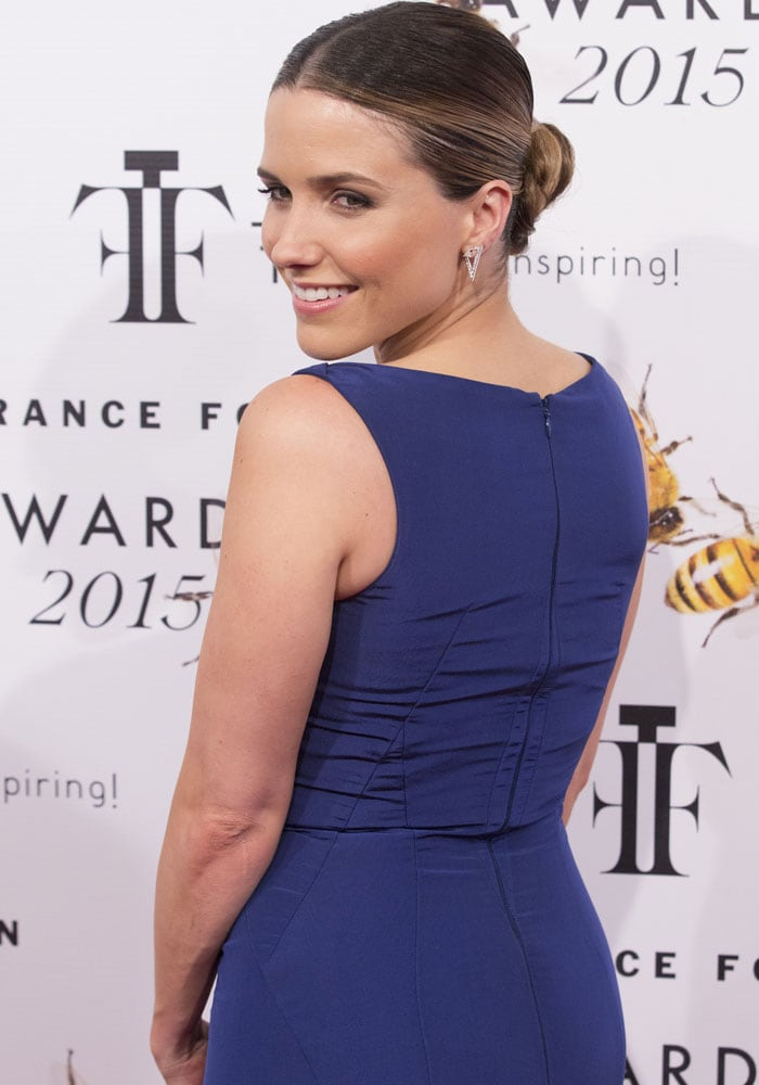 Sophia Bush styled her hair into a middle-parted updo
