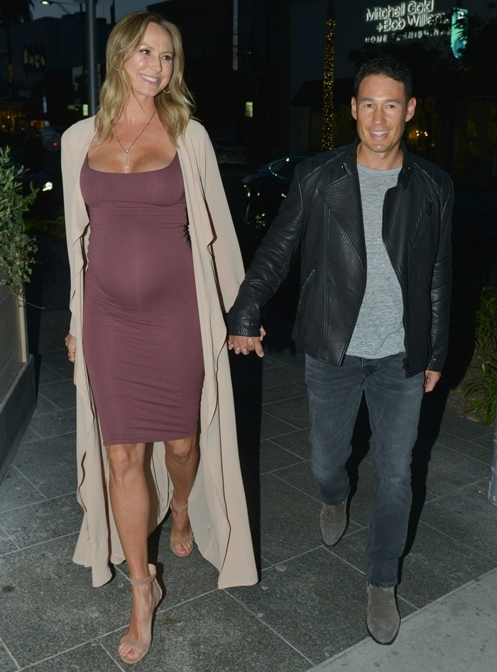 Stacy Keibler looked very pregnant while out with her husband Jared Pobre