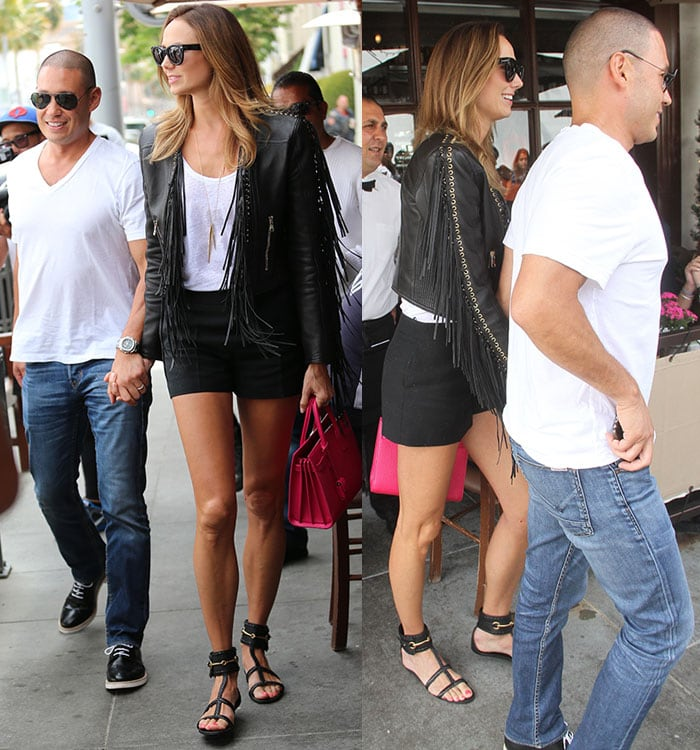 Stacy Keibler and her husband Jared Pobre enjoying a romantic lunch date at Il Pastaio