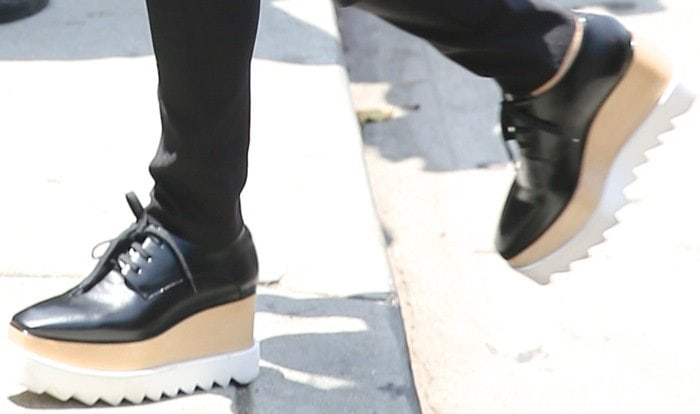 "A close-up of the detailing of the Stella McCartney ""Elyse"" shoes Khloe Kardashian wore to film in"