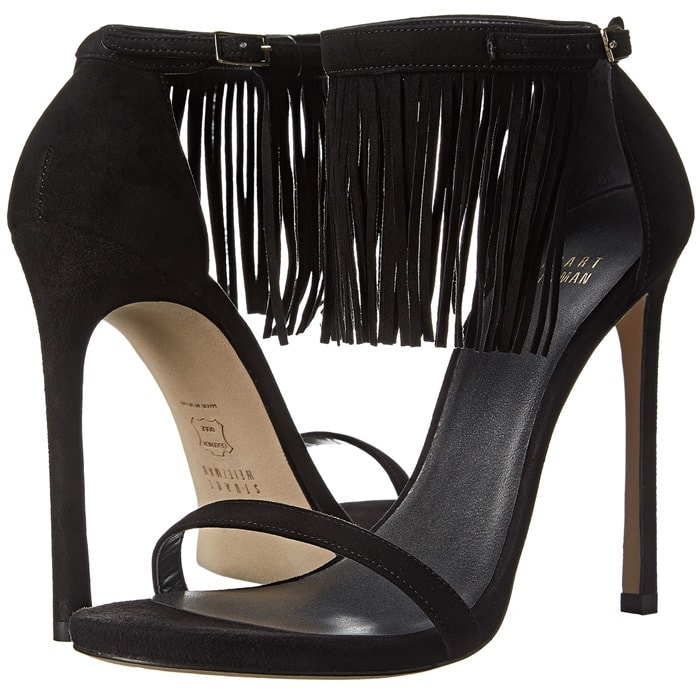 Stuart Weitzman Lovefringe Black Suede Sandals