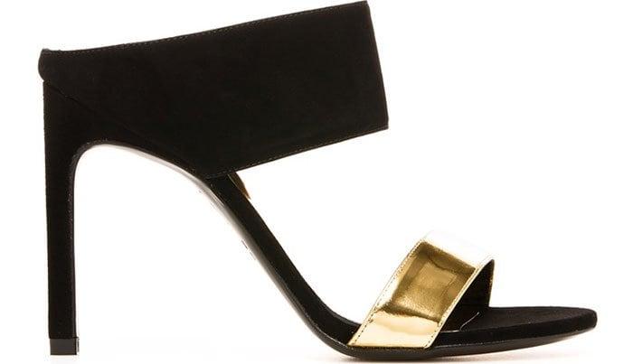 Stuart Weitzman Myslide Black Gold Sandals