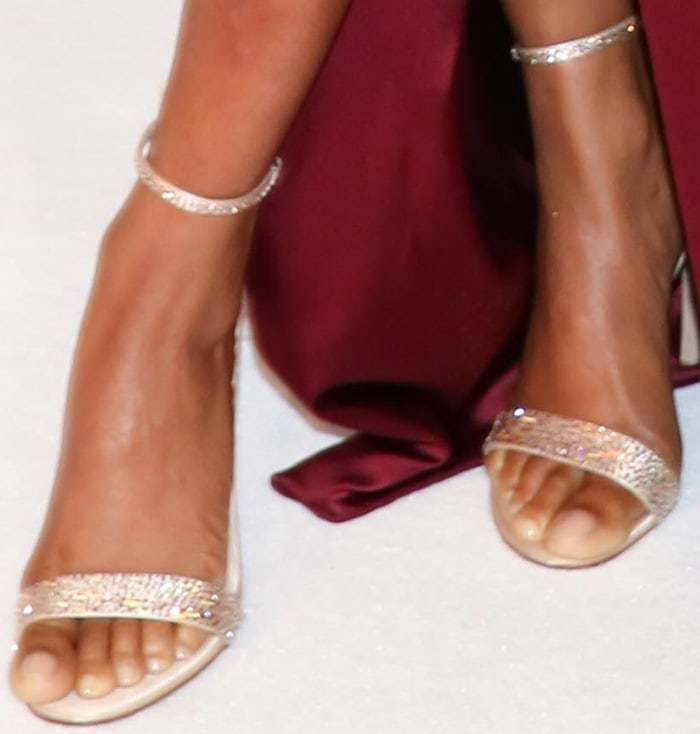 Taraji Penda Henson glittered in a pair of ankle-strap sandals from Gianvito Rossi