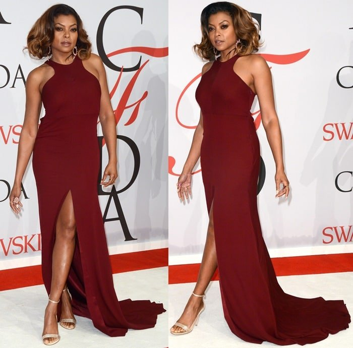 Taraji Penda Henson donned a minimalistic crimson red Vera Wang dress featuring a sexy front slit