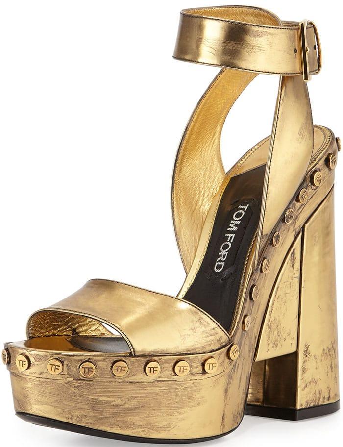 Tom Ford Metallic Ankle-Wrap Platform Sandal in Gold