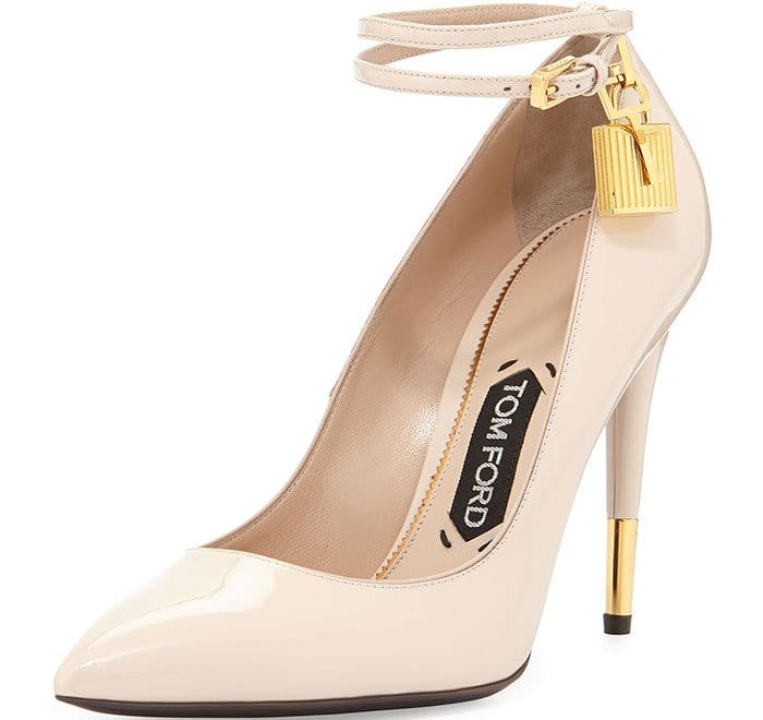 Tom Ford Patent Ankle-Lock Pumps in Nude
