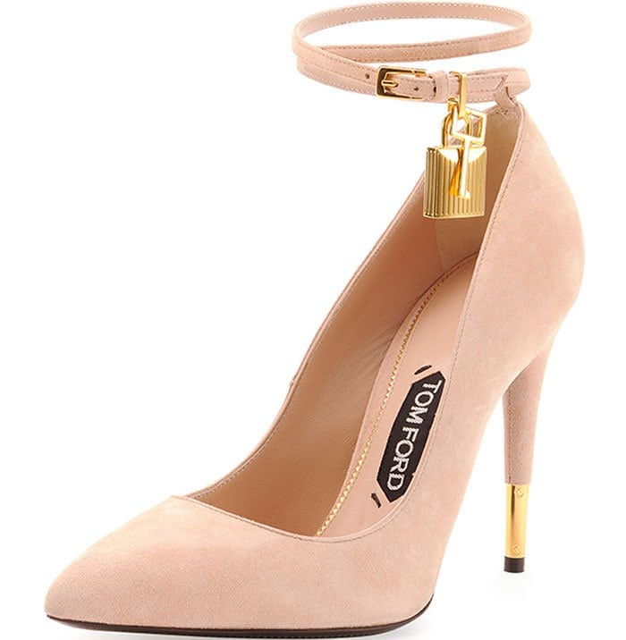 Tom Ford Suede Ankle-Lock Pumps in Wild Rose