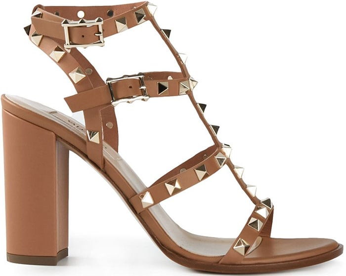 Valentino Rockstud Sandals brown