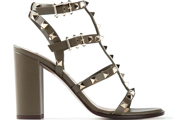 Valentino Rockstud Sandals green calf