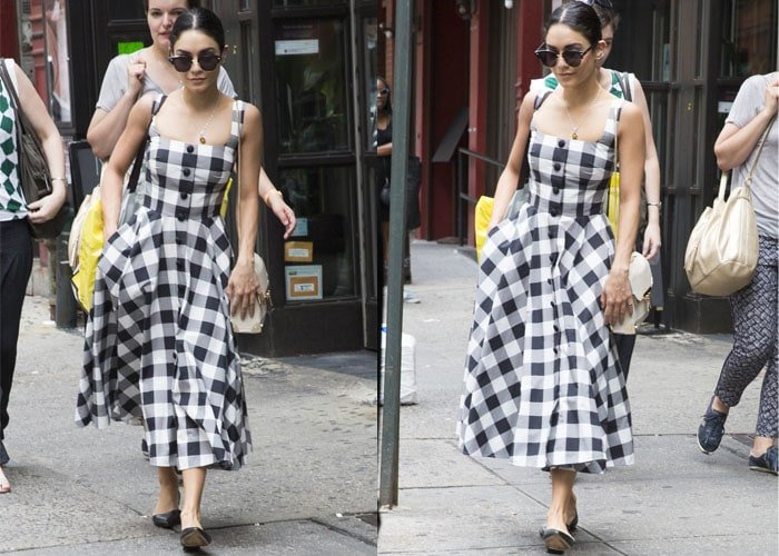 Vanessa wore a midi-length gingham-print dress for her stroll