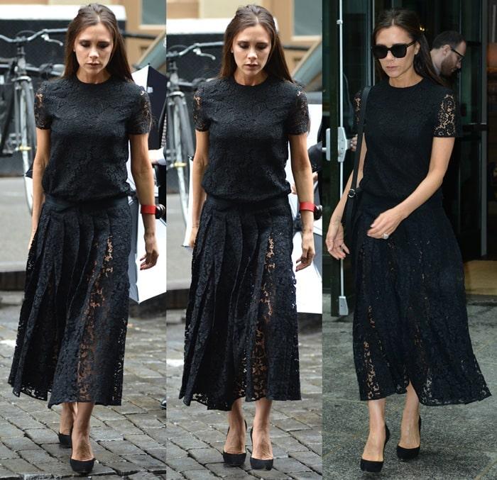 Victoria Beckham rocks black pumps from Casadei with a matching dress