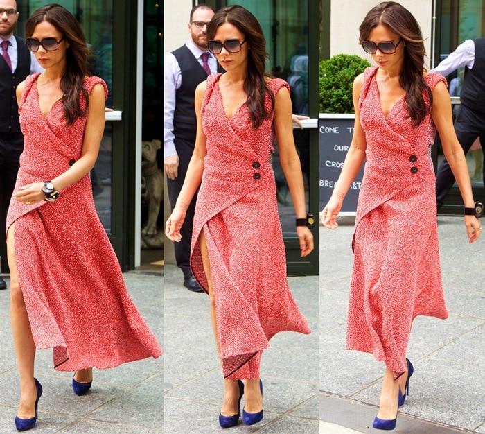 Victoria Beckham wears a vivid red asymmetric maxi dress