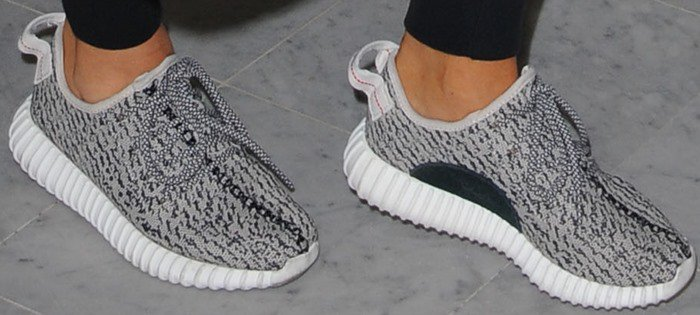 """A close-up of the detail on Kim's """"Yeezy 350 Boost"""" sneakers"""