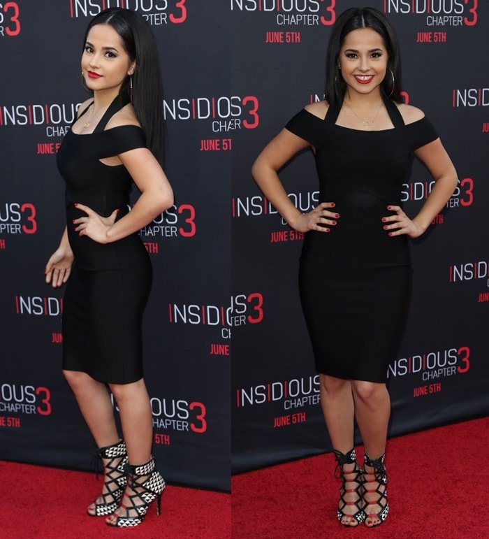 Becky G's hot legs in an off-the-shoulder black dress from House of CB