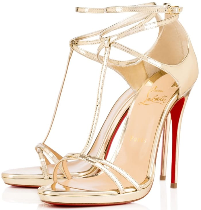 Gold Christian Louboutin Benedetta Fall 2015 T-Strap Sandals