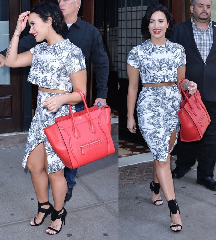 Demi Lovato flashed some skin in a trendy crop top and skirt combo printed in a blue graphic print