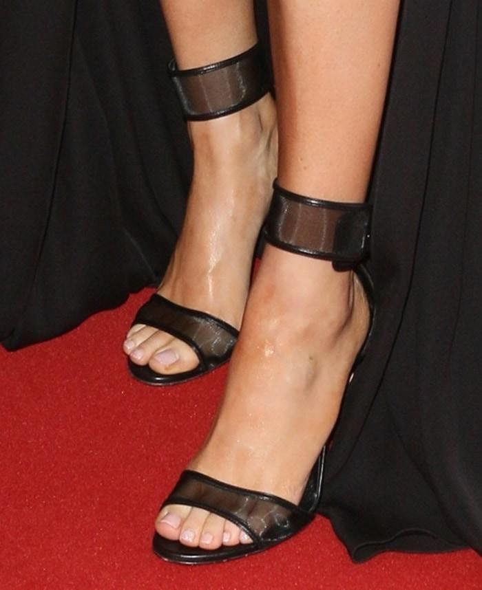 Ellie Goulding wearing Casadei mesh strap sandals
