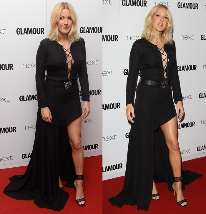 Ellie Goulding displayed her svelte figure in a black Barbara Bui Fall 2015 dress that featured a lace-up bodice, embellished belt, and tiered skirt