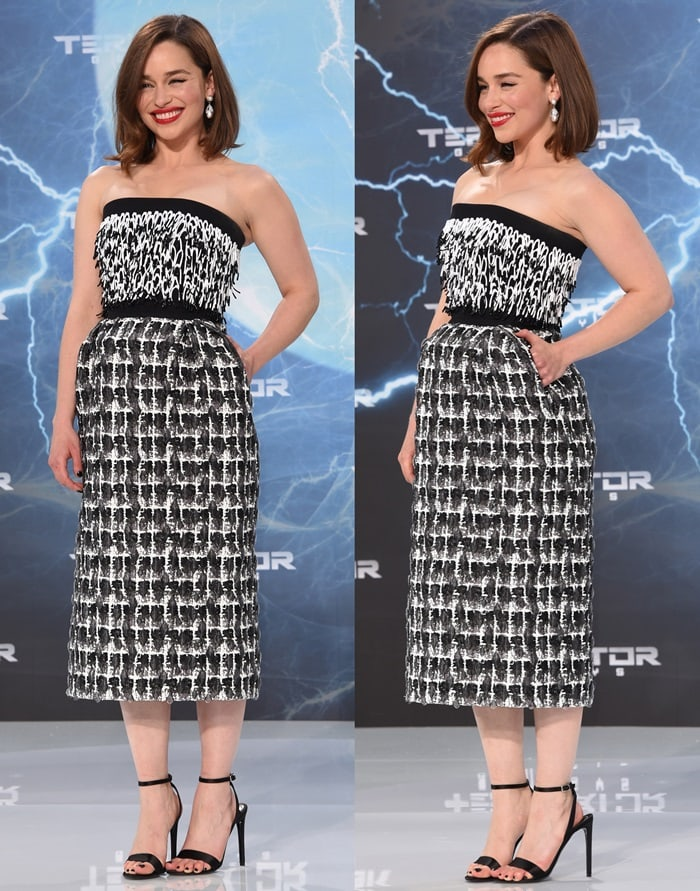 Emilia Clarke flashed her legs in a fashion-forward dress