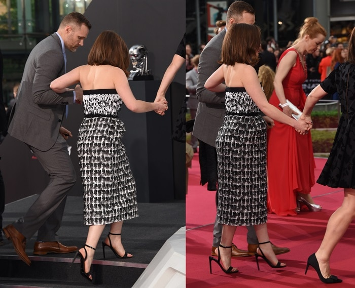 Emilia Clarke attending the Berlin premiere of Terminator Genisys with a foot injury
