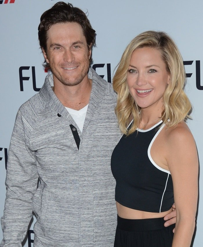 Kate Hudson with her brother, Oliver Hudson, at the launch of their menswear collection FL2