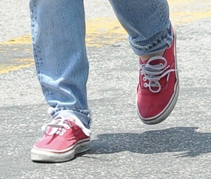 Kristen Stewart loves her red Vans sneakers