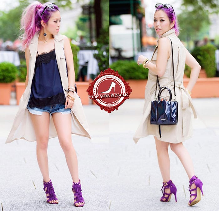 Aika flaunts her slender pins in vivid purple sandals