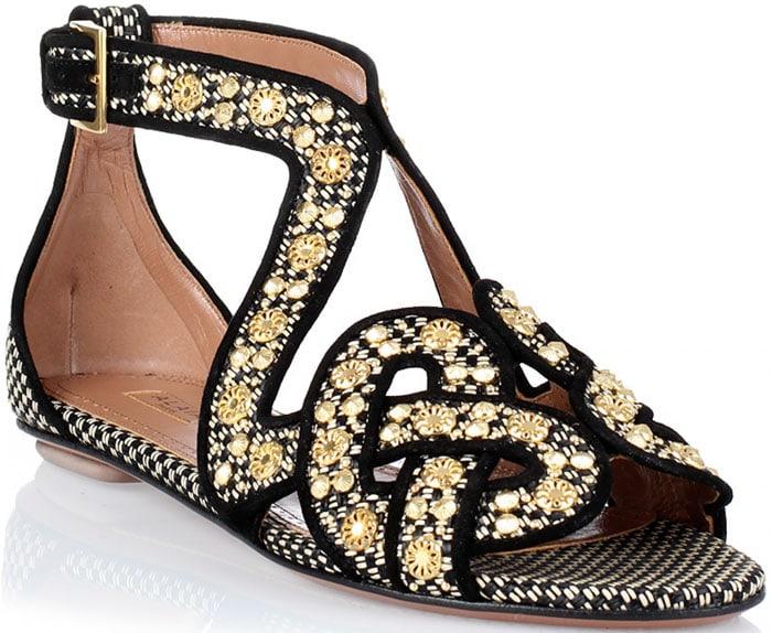 Alaïa Woven Studded Leather Sandal